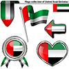 Glatte Ikonen mit Flagge von Vereinigte Arabische Emirate