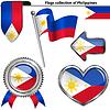 Glossy Icons mit Flagge von Philippinen