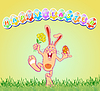 Grußkarte mit Ostereiern und Kaninchen | Stock Vektrografik