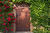 ID 4539780 | Entrance wooden door and roses | Foto stockowe wysokiej rozdzielczości | KLIPARTO
