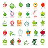 Векторный клипарт: Большая коллекция логотипы яблоки