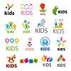 Największy zbiór loga dzieci | Stock Vector Graphics