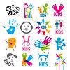 große Reihe von Logos Kinder