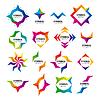 große Reihe von abstrakten Logos von Modulen