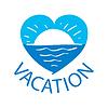 Логотип закат над морем в центре | Векторный клипарт