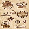 Rennwagen Vintage Etiketten