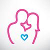romantisches Paar in Liebe, skizziert Symbol