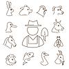 Nutztiere lineare Symbole Set, dünne Linien