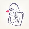 Mutter und Kind stilisierte Symbol, skizziert Skizze