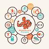 Fitness und Körperpflege Infografiken, Icons Sammlung