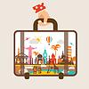 Hand mit Gepäck reisen, um Welt-Konzept