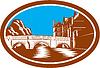 Trinity College Cambridge Brücke Holzschnitt