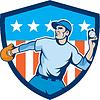 Baseball Pitcher Wurfball Schild Cartoon