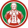 Gewichtheber Heben Kettlebell Kreis Retro