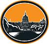 United States Capitol Building Holzschnitt Retro
