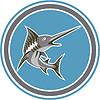 Blue Marlin Fisch-Springen Retro Kreis