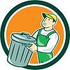 Garbage Collector Tragekorb Kreis Cartoon