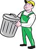 Garbage Collector Tragekorb-Karikatur
