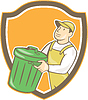 Garbage Collector Tragekorb Schild Cartoon