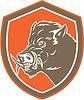 Razorback Wildschwein Kopf Seiten Schild Retro