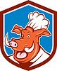 Wildschwein-Eber Chef-Koch-Kopfschild Cartoon