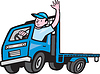 Flachbett-LKW-Fahrer Winken Cartoon