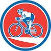 Radfahrer fahren Mountainbike Kreis Retro