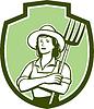 Weiblich Organic Farmer Pitchfork Schild Retro