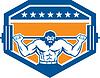 Bodybuilder Heben Langhantel-Schild Retro
