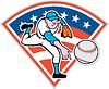 Amerikanischen Baseball Pitcher Wurfball Cartoon