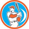 Baseball Batter Hitter Bat Kreis Retro