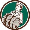 Weibliche Barkeeper Trage Keg Kreis Retro