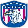 American Bald Eagle Kopfseite Sterne Retro