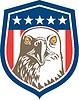 American Bald Eagle Kopf Sterne-Schild Retro