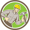 Builder Carpenter Shouting Hammer Kreis Retro