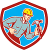 Builder Carpenter Shouting Hammer Schild Retro