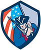 American Patriot Halten Brandish Flaggen-Schild Retro