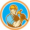 Builder Zimmermann hält Hammer Kreis Retro
