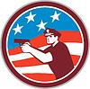 Polizist mit Gewehr Amerika Flaggen-Kreis Retro