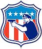 Polizist mit Gewehr Amerika-Flaggen-Schild Retro