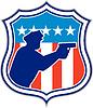 Policeman Silhouette Mit Gewehr Flaggen-Schild Retro