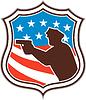 Policeman Silhouette Gewehr zeigt Flaggen-Schild Retro