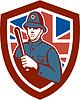Britische Bobby Polizist Schlagstock Flaggen-Schild Retro