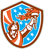 American Patriot-Holding Torch Flaggen-Schild Retro
