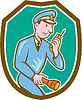 Policeman Torch Funk Schild Cartoon