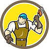 Plumber Monkey Wrench Kreis Cartoon