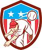 Baseball-Werfer-Außenfeldspieler-werfende Kugel Schild