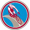 Radfahrer-Fahrrad-Reiter Kreis Retro