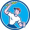 Elektriker-Holding Lightning Bolt Kreis Cartoon