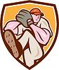 Baseball-Werfer-Außenfeldspieler Bein herauf Schild Cartoon